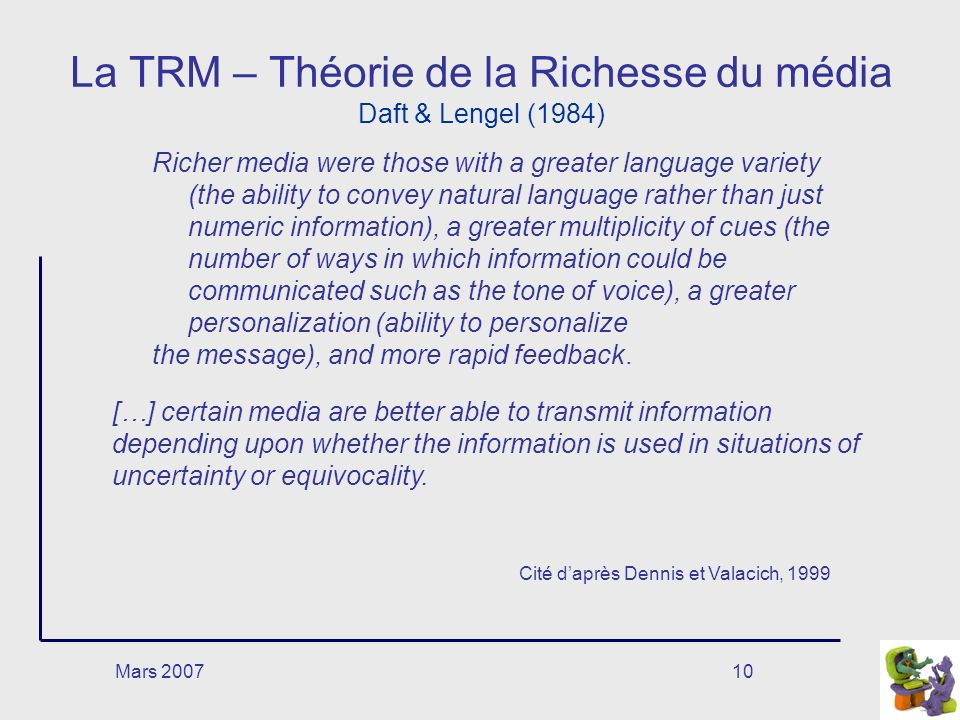Mars 200710 La TRM – Théorie de la Richesse du média Daft & Lengel (1984) Richer media were those with a greater language variety (the ability to conv