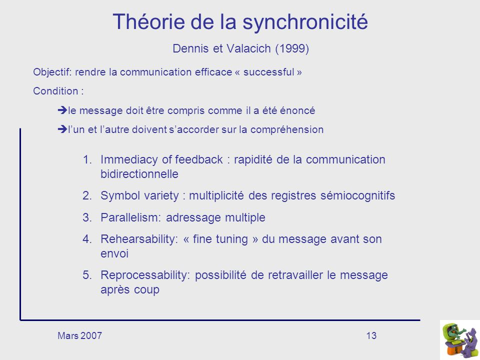 Mars 200713 Théorie de la synchronicité Dennis et Valacich (1999) Objectif: rendre la communication efficace « successful » Condition : le message doi