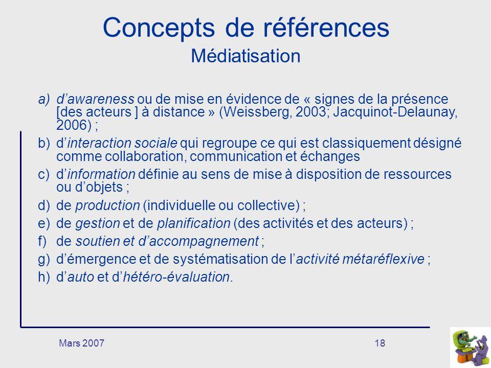 Mars 200718 Concepts de références Médiatisation a)dawareness ou de mise en évidence de « signes de la présence [des acteurs ] à distance » (Weissberg