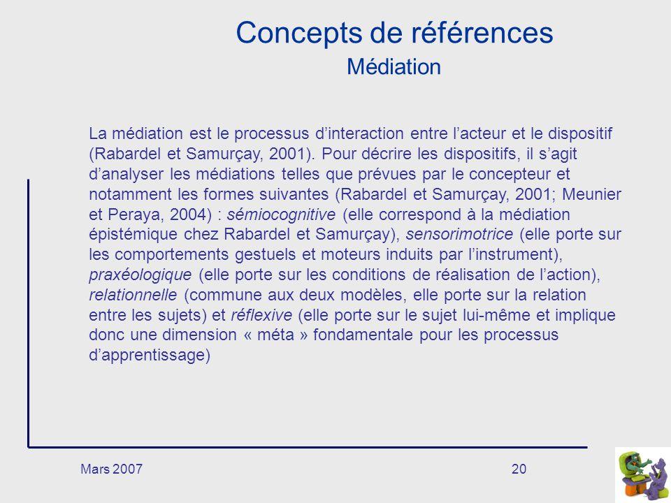 Mars 200720 Concepts de références Médiation La médiation est le processus dinteraction entre lacteur et le dispositif (Rabardel et Samurçay, 2001).