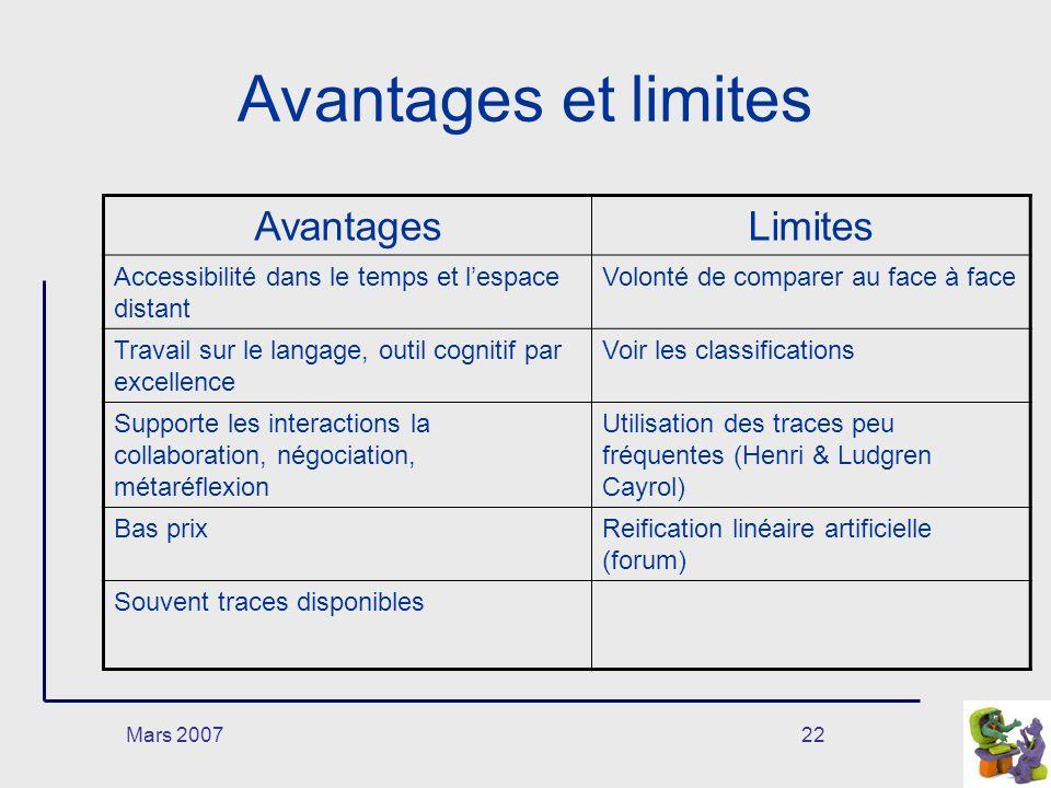 Mars 200722 Avantages et limites AvantagesLimites Accessibilité dans le temps et lespace distant Volonté de comparer au face à face Travail sur le lan