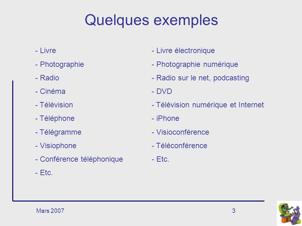 Mars 20073 Quelques exemples - Livre - Photographie - Radio - Cinéma - Télévision - Téléphone - Télégramme - Visiophone - Conférence téléphonique - Etc.