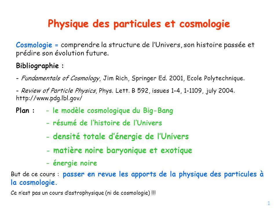 1 Physique des particules et cosmologie Cosmologie = comprendre la structure de lUnivers, son histoire passée et prédire son évolution future. Bibliog