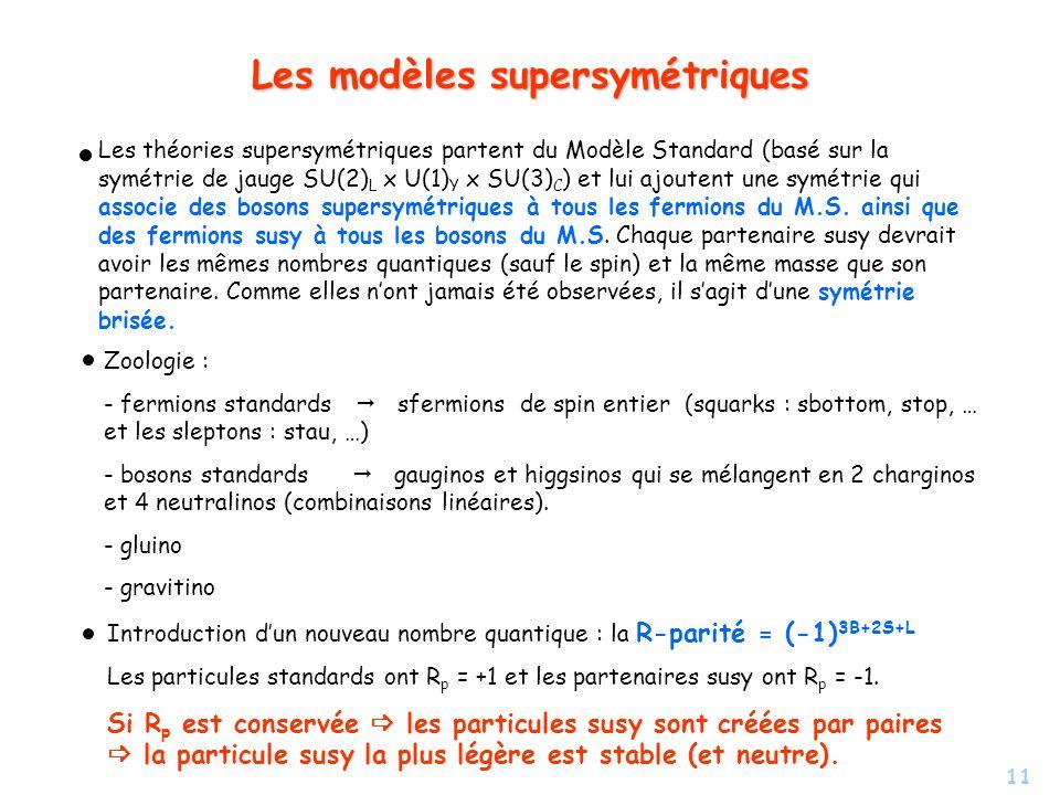11 Les modèles supersymétriques Les théories supersymétriques partent du Modèle Standard (basé sur la symétrie de jauge SU(2) L x U(1) Y x SU(3) C ) e