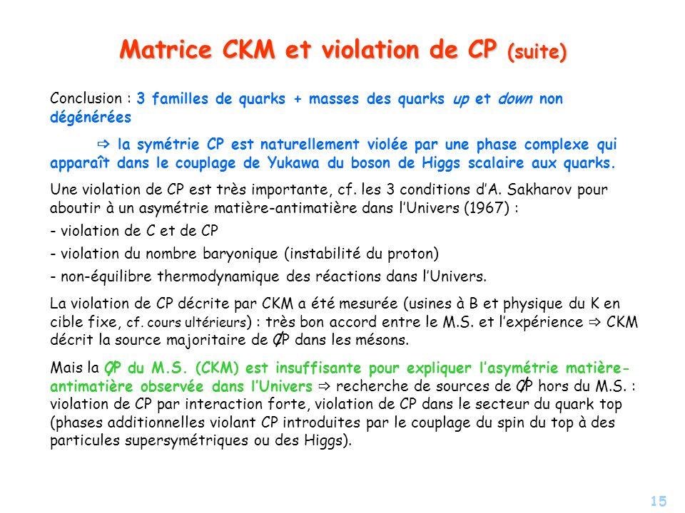 15 Matrice CKM et violation de CP (suite) Conclusion : 3 familles de quarks + masses des quarks up et down non dégénérées la symétrie CP est naturelle