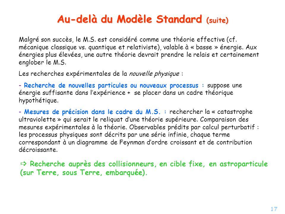 17 Au-delà du Modèle Standard (suite) Malgré son succès, le M.S. est considéré comme une théorie effective (cf. mécanique classique vs. quantique et r