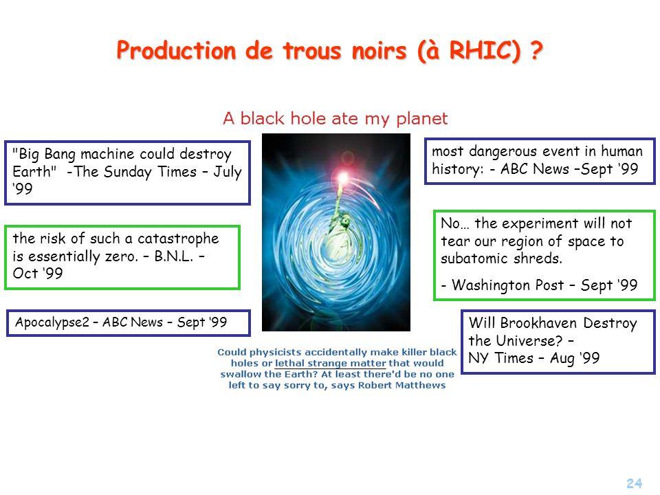 24 Production de trous noirs (à RHIC) ? most dangerous event in human history: - ABC News –Sept 99