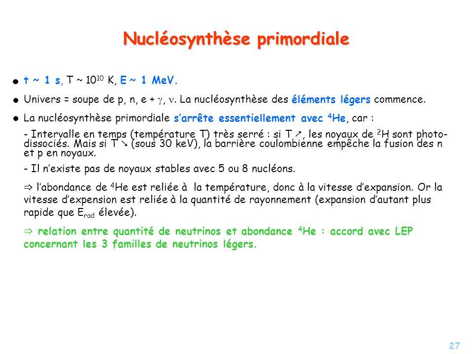 27 Nucléosynthèse primordiale t ~ 1 s, T ~ 10 10 K, E ~ 1 MeV. Univers = soupe de p, n, e +,. La nucléosynthèse des éléments légers commence. La nuclé