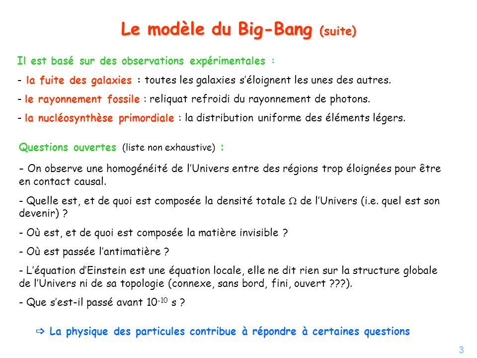 3 Le modèle du Big-Bang (suite) Il est basé sur des observations expérimentales : - - la fuite des galaxies : toutes les galaxies séloignent les unes