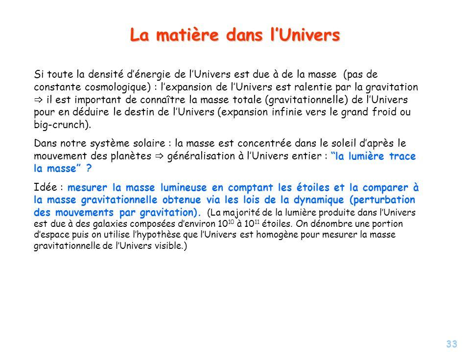 33 La matière dans lUnivers Si toute la densité dénergie de lUnivers est due à de la masse (pas de constante cosmologique) : lexpansion de lUnivers es