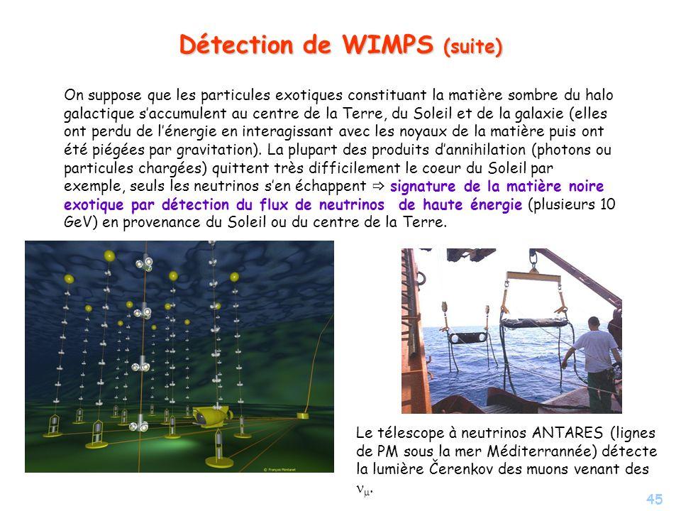 45 Détection de WIMPS (suite) On suppose que les particules exotiques constituant la matière sombre du halo galactique saccumulent au centre de la Ter