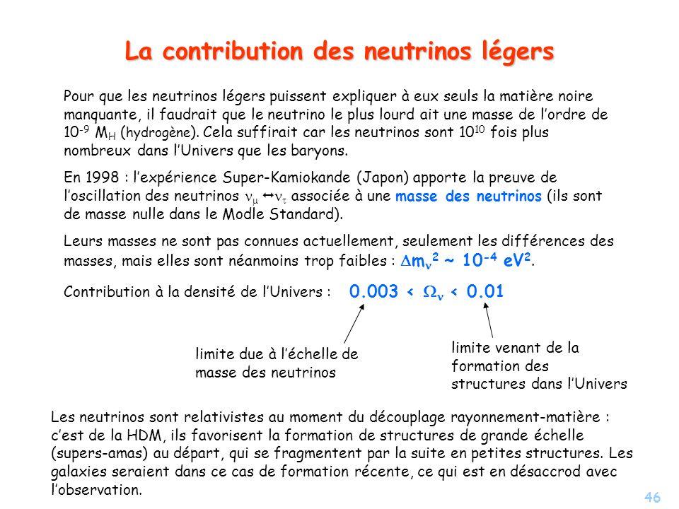 46 La contribution des neutrinos légers Pour que les neutrinos légers puissent expliquer à eux seuls la matière noire manquante, il faudrait que le ne