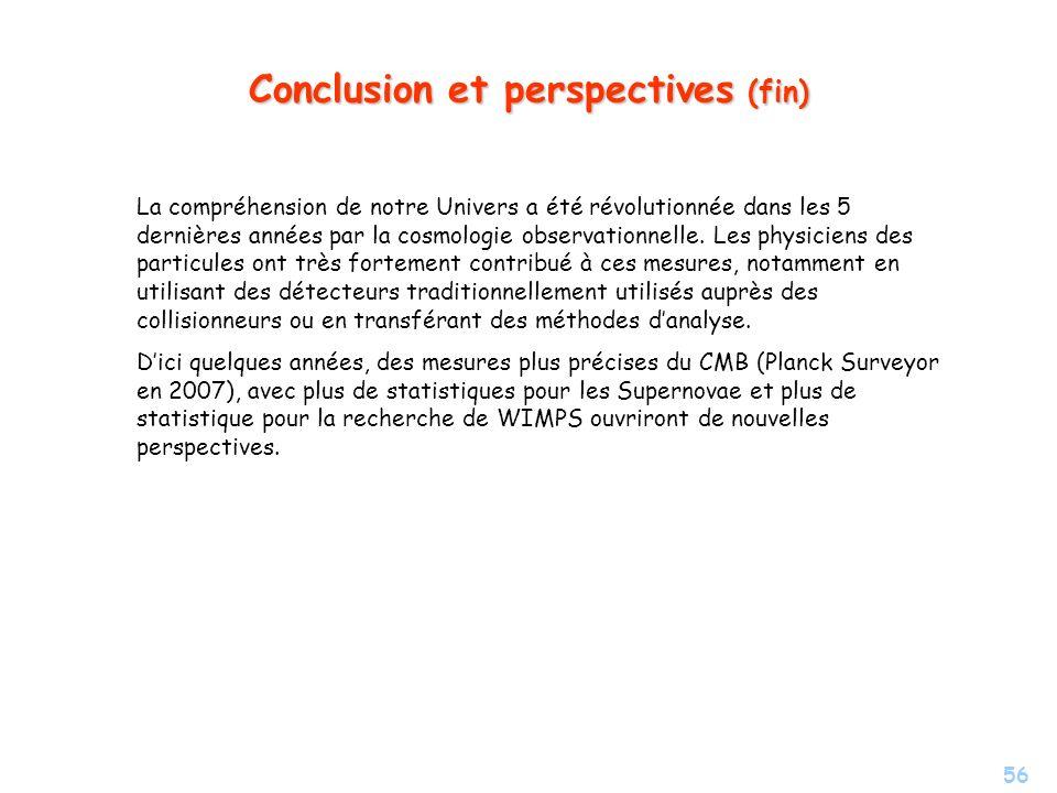 56 Conclusion et perspectives (fin) La compréhension de notre Univers a été révolutionnée dans les 5 dernières années par la cosmologie observationnel