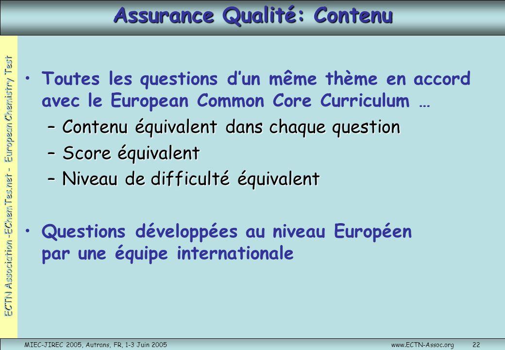 ECTN Association -EChemTes.net - European Chemistry Test MIEC-JIREC 2005, Autrans, FR, 1-3 Juin 2005www.ECTN-Assoc.org22 Assurance Qualité: Contenu To