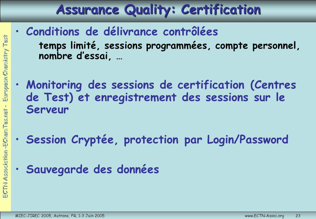 ECTN Association -EChemTes.net - European Chemistry Test MIEC-JIREC 2005, Autrans, FR, 1-3 Juin 2005www.ECTN-Assoc.org23 Assurance Quality: Certificat