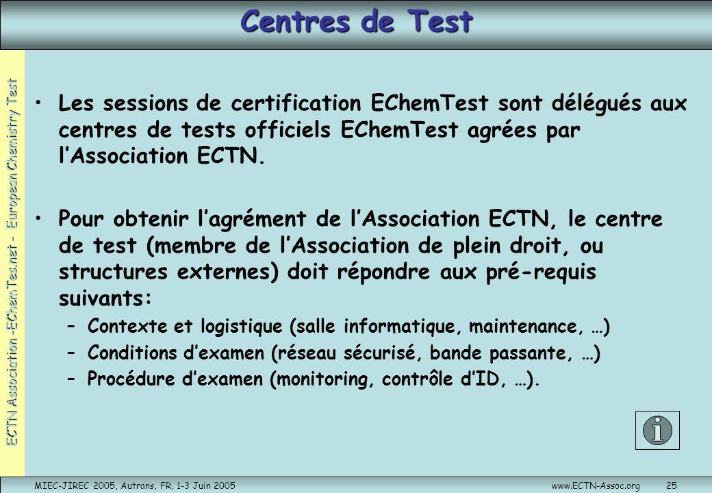 ECTN Association -EChemTes.net - European Chemistry Test MIEC-JIREC 2005, Autrans, FR, 1-3 Juin 2005www.ECTN-Assoc.org25 Centres de Test Les sessions