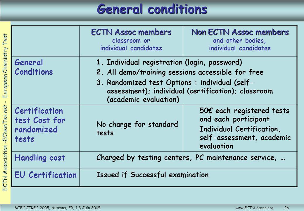 ECTN Association -EChemTes.net - European Chemistry Test MIEC-JIREC 2005, Autrans, FR, 1-3 Juin 2005www.ECTN-Assoc.org26 General conditions ECTN Assoc