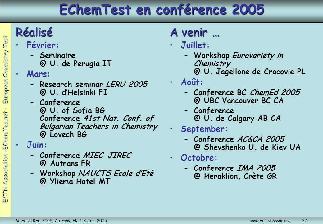 ECTN Association -EChemTes.net - European Chemistry Test MIEC-JIREC 2005, Autrans, FR, 1-3 Juin 2005www.ECTN-Assoc.org27 EChemTest en conférence 2005