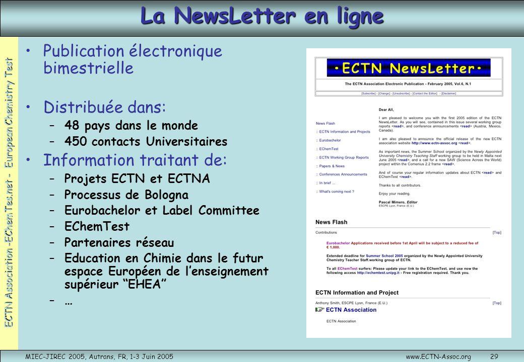 ECTN Association -EChemTes.net - European Chemistry Test MIEC-JIREC 2005, Autrans, FR, 1-3 Juin 2005www.ECTN-Assoc.org29 La NewsLetter en ligne Public