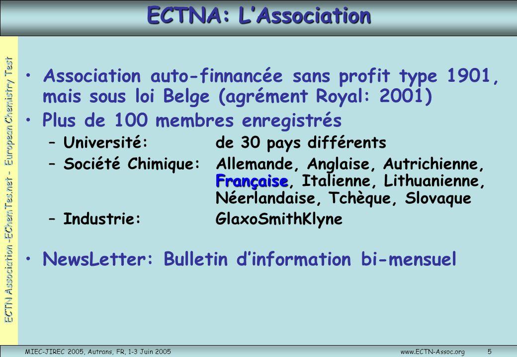 ECTN Association -EChemTes.net - European Chemistry Test MIEC-JIREC 2005, Autrans, FR, 1-3 Juin 2005www.ECTN-Assoc.org6 ECTN Projets Parmi les différents projets pilotés par ECTN … (pour de plus amples informations, visiter www.ectn.net)www.ectn.net … 2 projets dimportance:EurobachelorEChemTest