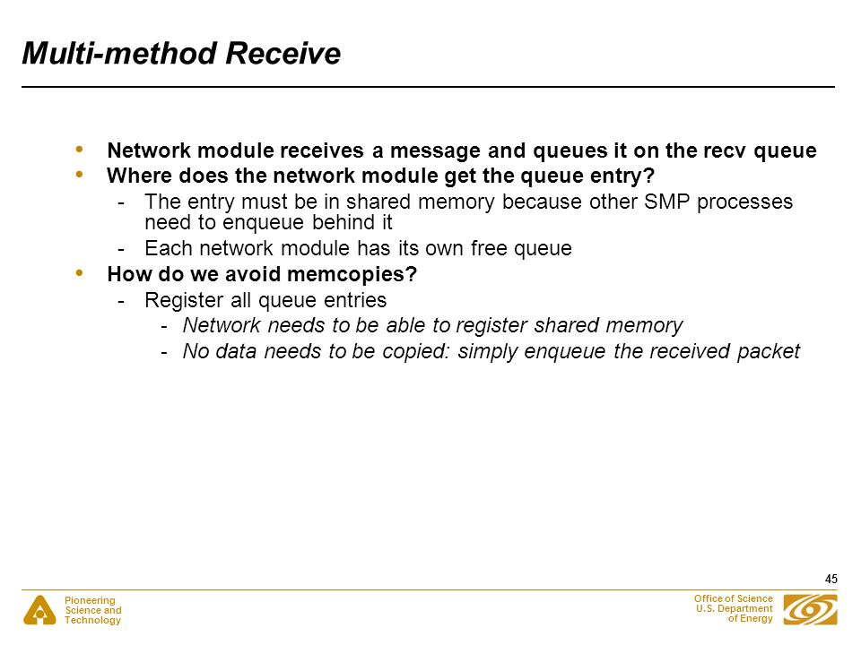 Pioneering Science and Technology Office of Science U.S. Department of Energy 45 Multi-method Receive Network module receives a message and queues it
