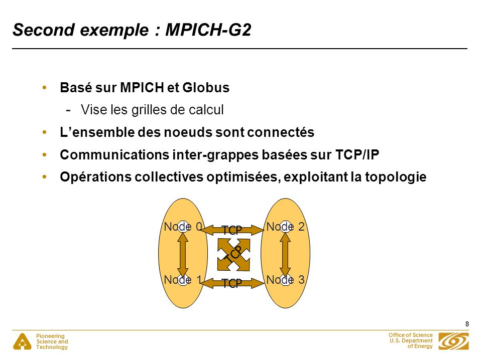 Pioneering Science and Technology Office of Science U.S. Department of Energy 8 Second exemple : MPICH-G2 Basé sur MPICH et Globus - Vise les grilles
