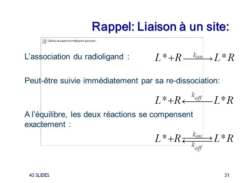 43 SLIDES 31 Rappel: Liaison à un site: Peut-être suivie immédiatement par sa re-dissociation: Lassociation du radioligand : A léquilibre, les deux ré
