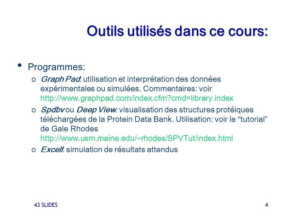 43 SLIDES 4 Outils utilisés dans ce cours: Programmes: oGraph Pad: utilisation et interprétation des données expérimentales ou simulées. Commentaires: