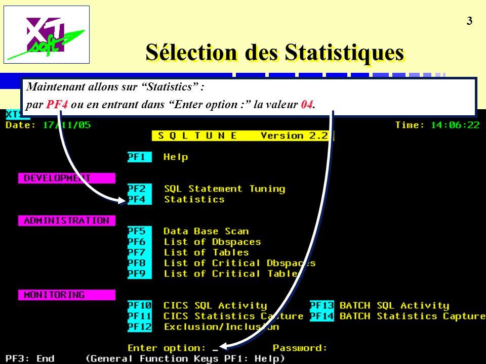 3 Sélection des Statistiques Maintenant allons sur Statistics : PF4 04 par PF4 ou en entrant dans Enter option : la valeur 04.