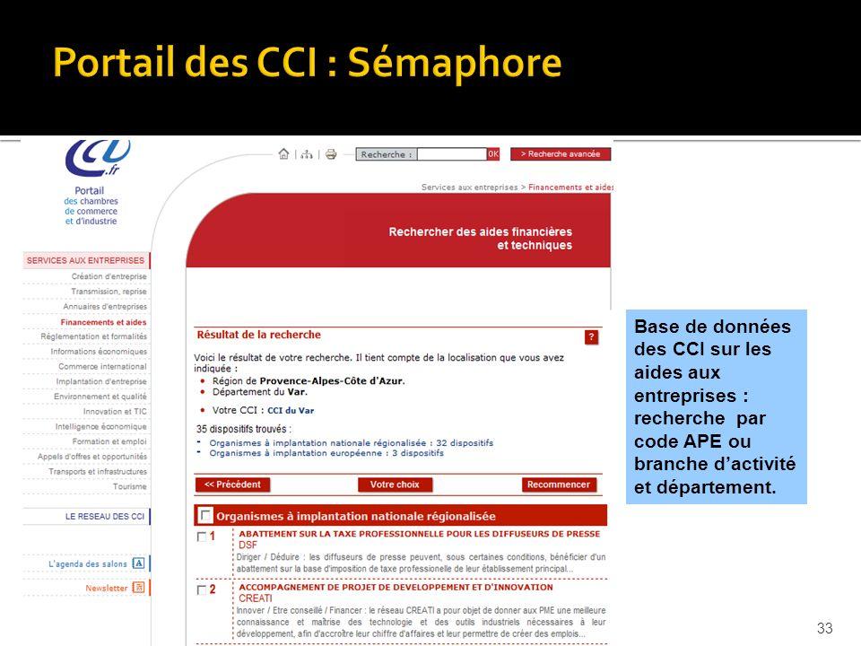 Base de données des CCI sur les aides aux entreprises : recherche par code APE ou branche dactivité et département.