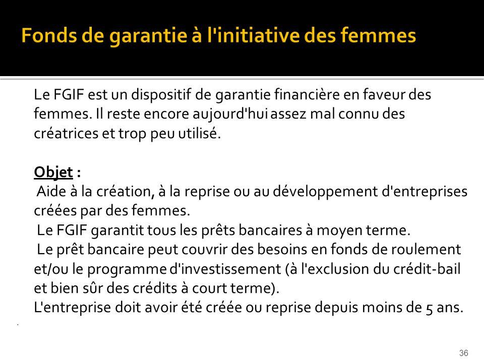 Le FGIF est un dispositif de garantie financière en faveur des femmes.