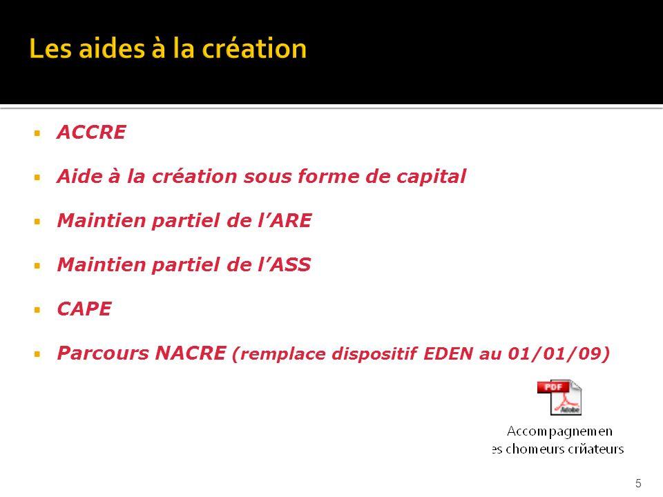 ACCRE Aide à la création sous forme de capital Maintien partiel de lARE Maintien partiel de lASS CAPE Parcours NACRE (remplace dispositif EDEN au 01/01/09) 5