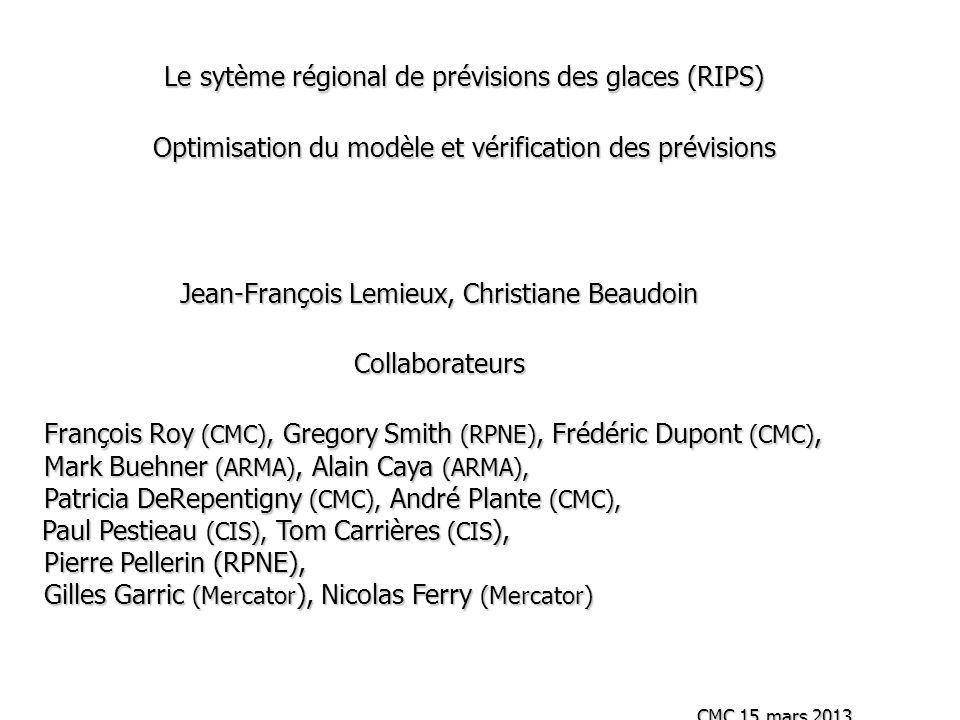 Le sytème régional de prévisions des glaces (RIPS) Optimisation du modèle et vérification des prévisions Jean-François Lemieux, Christiane Beaudoin Co