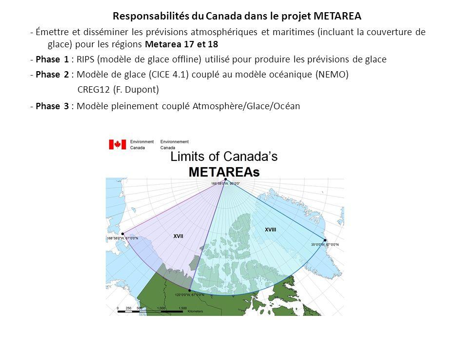 Responsabilités du Canada dans le projet METAREA - Émettre et disséminer les prévisions atmosphériques et maritimes (incluant la couverture de glace)