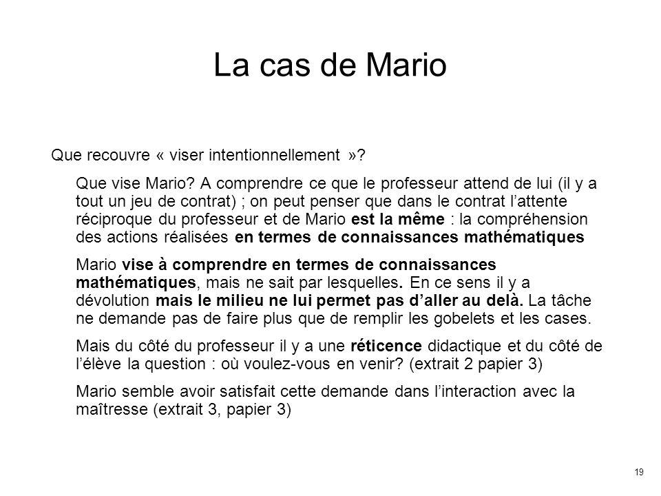 19 La cas de Mario Que recouvre « viser intentionnellement ».