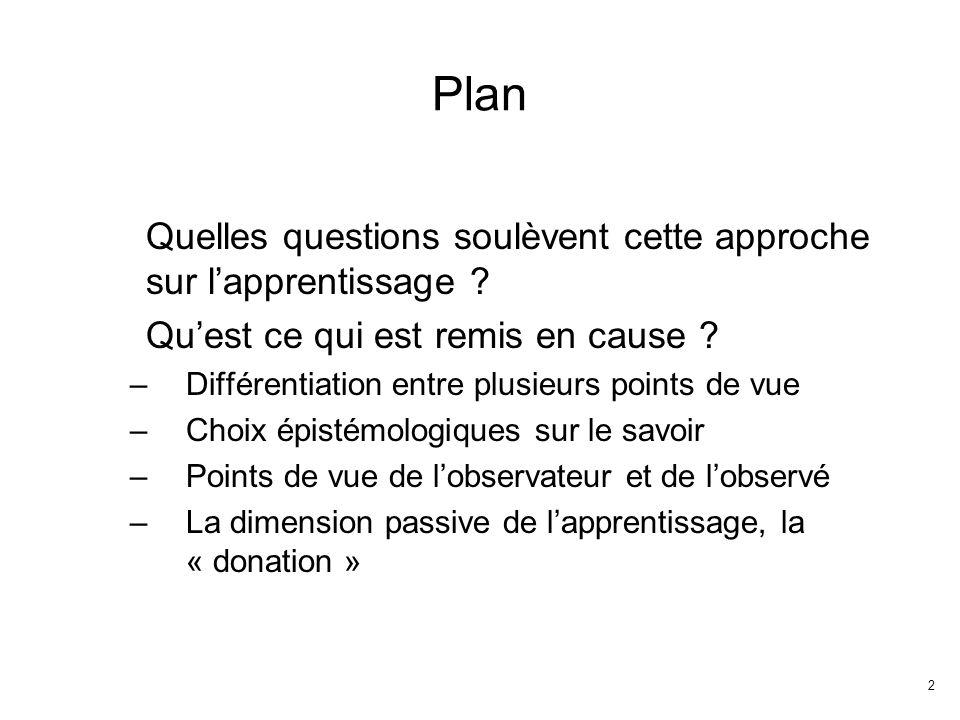 2 Plan Quelles questions soulèvent cette approche sur lapprentissage .