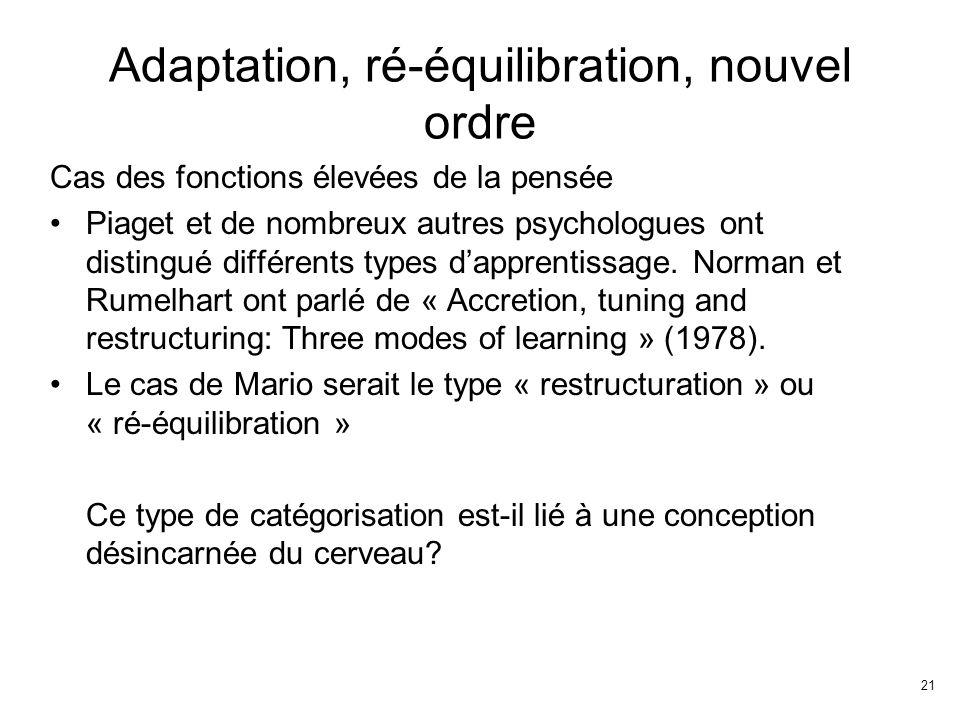 21 Adaptation, ré-équilibration, nouvel ordre Cas des fonctions élevées de la pensée Piaget et de nombreux autres psychologues ont distingué différents types dapprentissage.