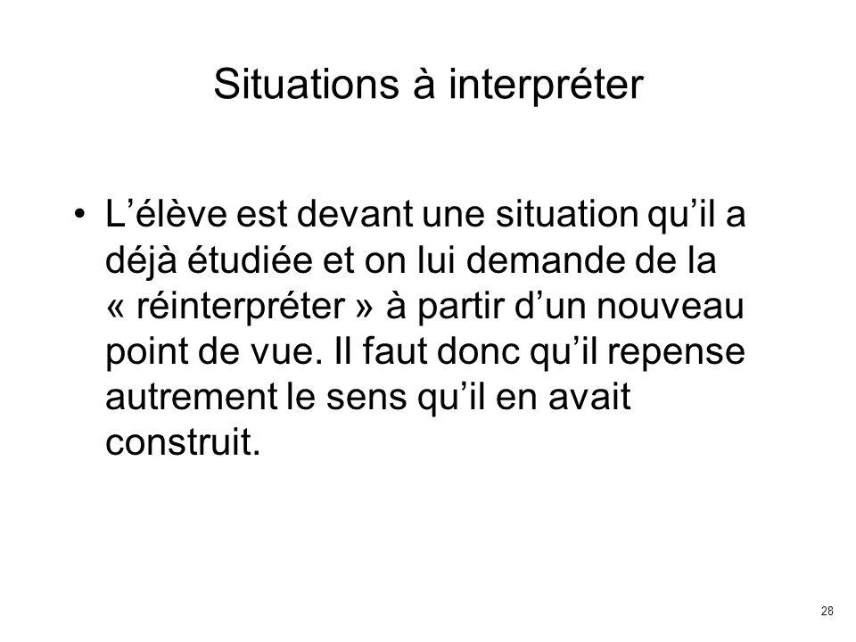 28 Situations à interpréter Lélève est devant une situation quil a déjà étudiée et on lui demande de la « réinterpréter » à partir dun nouveau point de vue.