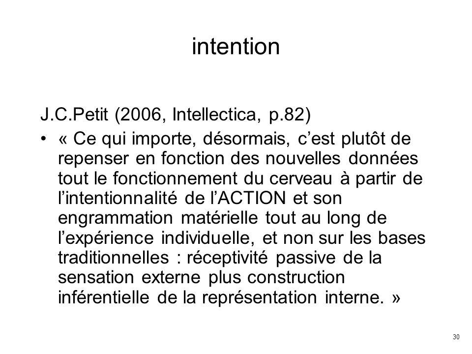 30 intention J.C.Petit (2006, Intellectica, p.82) « Ce qui importe, désormais, cest plutôt de repenser en fonction des nouvelles données tout le fonctionnement du cerveau à partir de lintentionnalité de lACTION et son engrammation matérielle tout au long de lexpérience individuelle, et non sur les bases traditionnelles : réceptivité passive de la sensation externe plus construction inférentielle de la représentation interne.