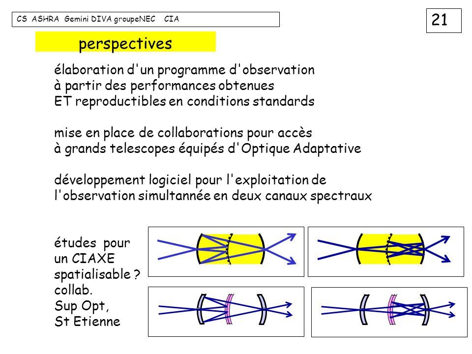 21 CS ASHRA Gemini DIVA groupeNEC CIA perspectives élaboration d'un programme d'observation à partir des performances obtenues ET reproductibles en co