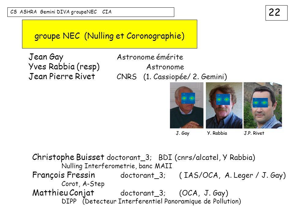 22 CS ASHRA Gemini DIVA groupeNEC CIA groupe NEC (Nulling et Coronographie) Jean Gay Astronome émérite Yves Rabbia (resp) Astronome Jean Pierre Rivet