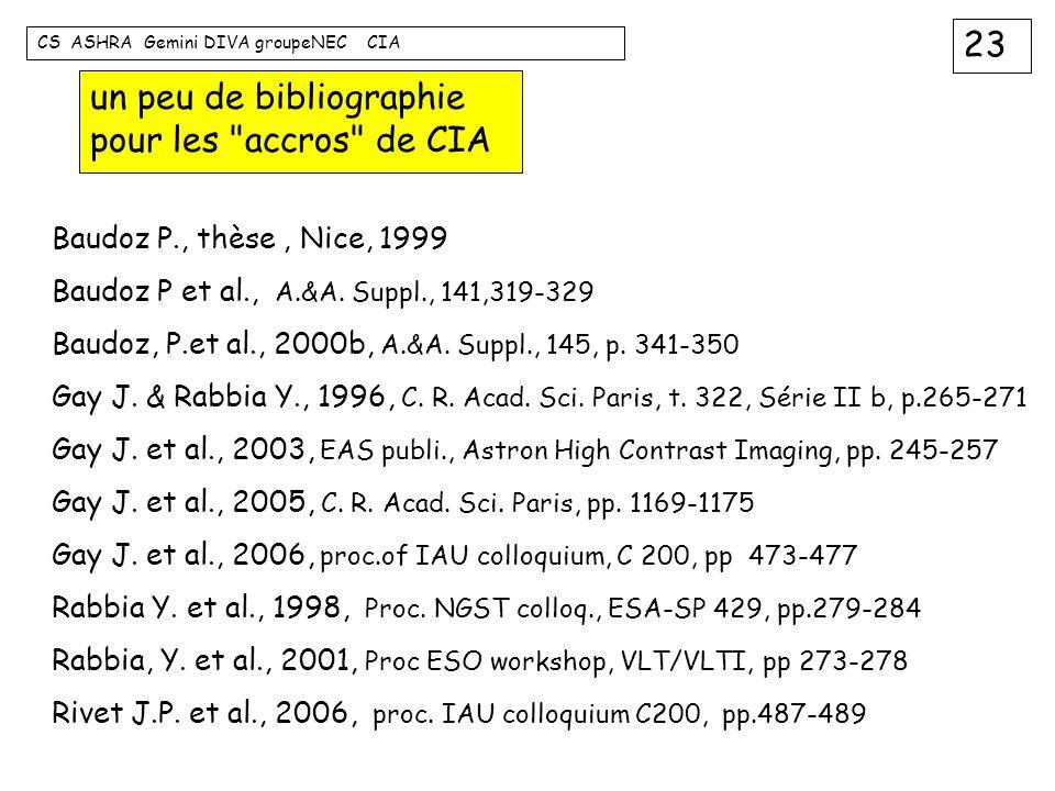 23 CS ASHRA Gemini DIVA groupeNEC CIA un peu de bibliographie pour les