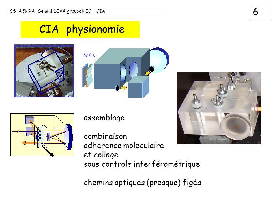 6 CS ASHRA Gemini DIVA groupeNEC CIA assemblage combinaison adherence moleculaire et collage sous controle interférométrique chemins optiques (presque
