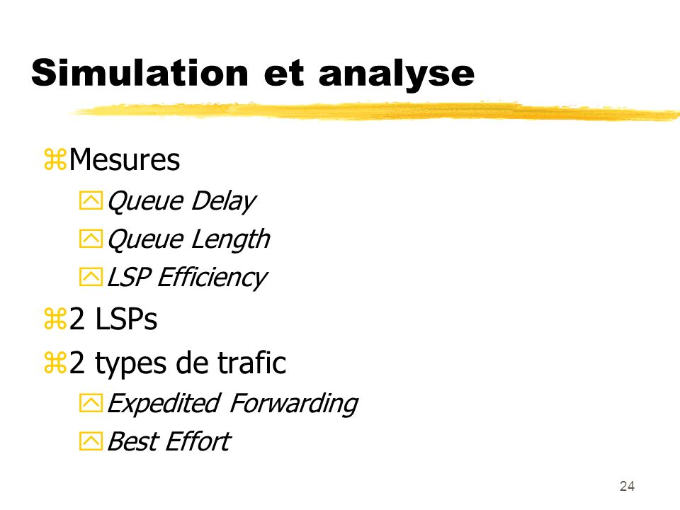 24 Simulation et analyse Mesures Queue Delay Queue Length LSP Efficiency 2 LSPs 2 types de trafic Expedited Forwarding Best Effort