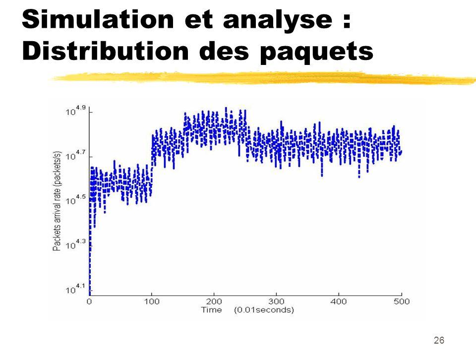 26 Simulation et analyse : Distribution des paquets