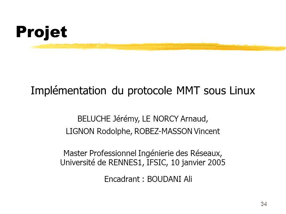 34 Projet Implémentation du protocole MMT sous Linux BELUCHE Jérémy, LE NORCY Arnaud, LIGNON Rodolphe, ROBEZ-MASSON Vincent Master Professionnel Ingénierie des Réseaux, Université de RENNES1, IFSIC, 10 janvier 2005 Encadrant : BOUDANI Ali