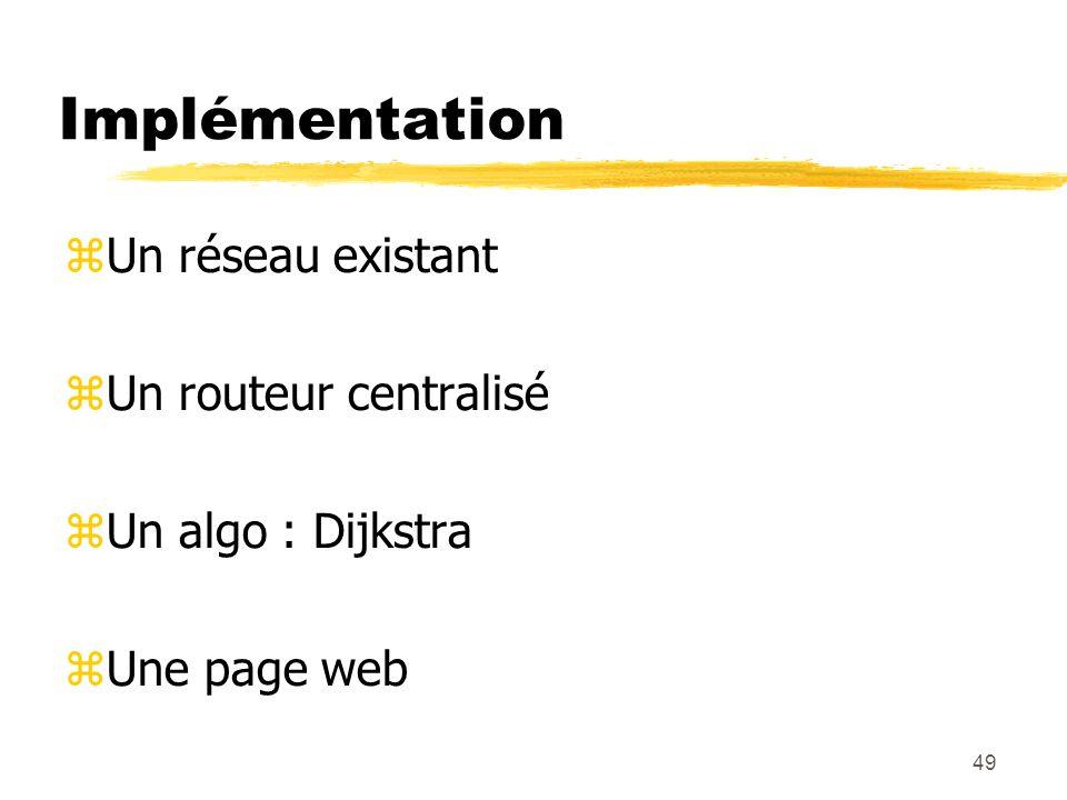 49 Implémentation Un réseau existant Un routeur centralisé Un algo : Dijkstra Une page web