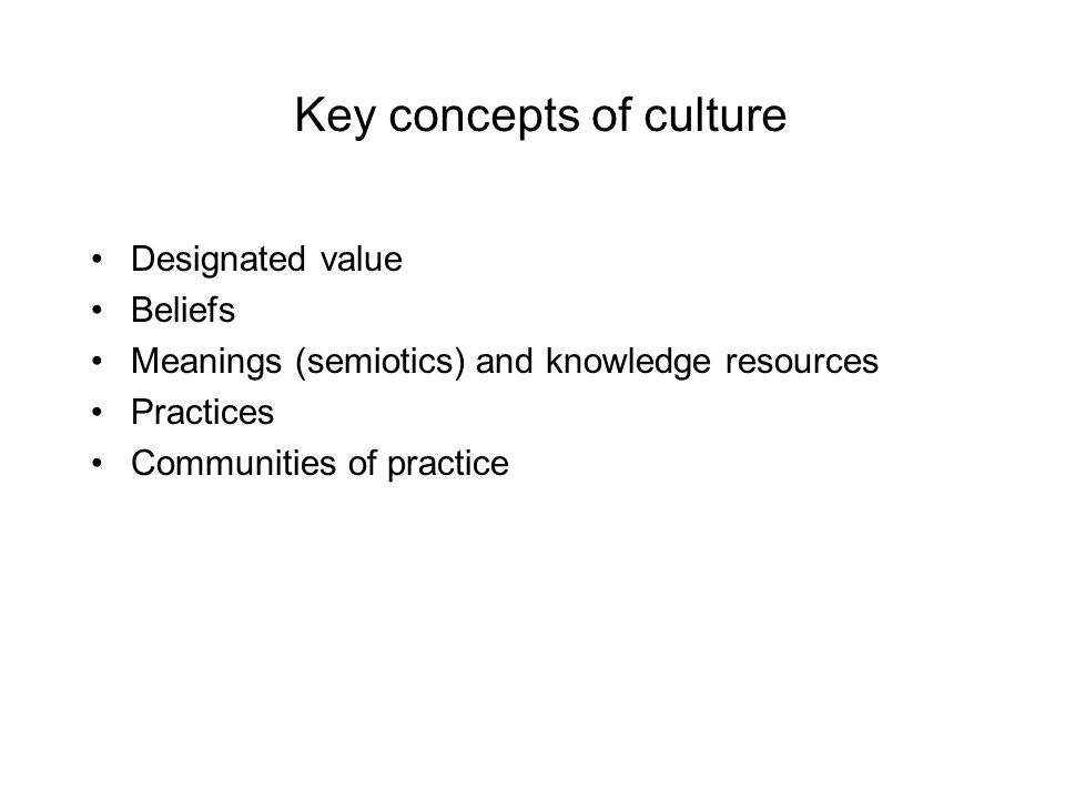 Key concepts of culture Brainstorm a definition of culture within your groups
