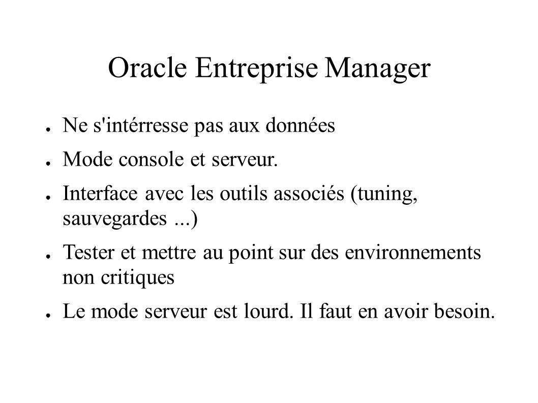 Oracle Entreprise Manager Ne s intérresse pas aux données Mode console et serveur.
