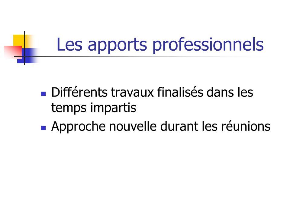 Les apports professionnels Différents travaux finalisés dans les temps impartis Approche nouvelle durant les réunions